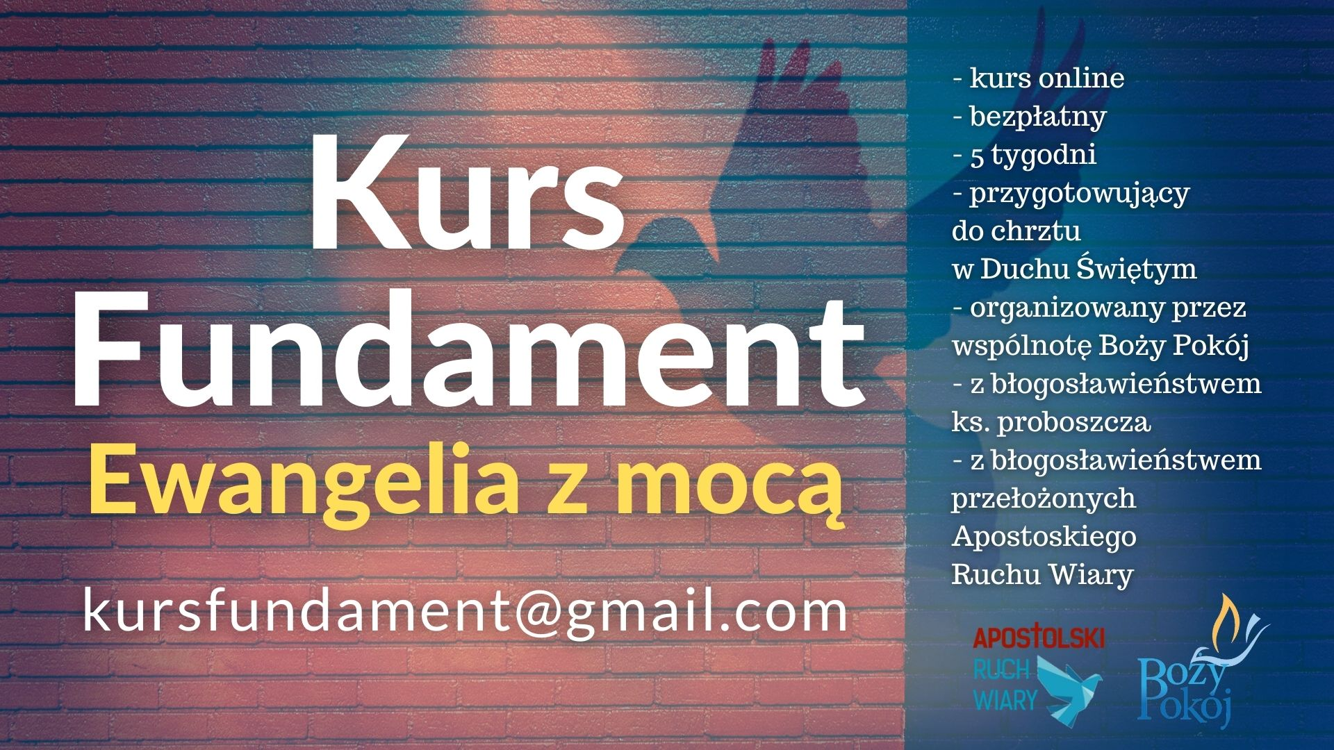 Kurs Fundament – Ewangelia z mocą – zaproszenie!